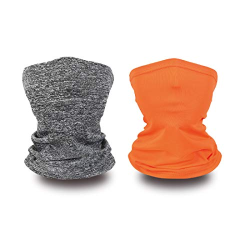 Neck Gaiters for Kids Face Covering Balaclava Rave Bandanas Summer Neck Gaiter Scarves Multi Grey+Orange
