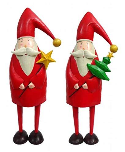 Florissima Grande Santa/Nikolaus–Metallo–Stella AM Stab–28cmx18cmx80cm–Rosso–Indoor & Outdoor–addobbi natalizi