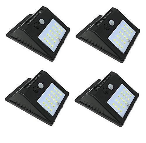 terryshop74 4 X FARETTO da Esterno 20 LED con SENSORE CREPUSCOLARE E Pannello Solare Facile Installazione