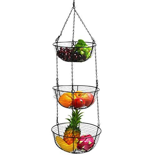Tiene 3 Plantas En Maceta Colgante, Cesta De Frutas Para Su Almacenamiento En La Cocina, 3 Niveles De Pie Para El Techo, La Fruta, El Espacio Limitado En Su Cocina, Acero, Negro