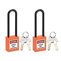 DyniLao ロックアウトタグアウト安全南京錠3インチナイロンシャックルキー付き異なるオレンジ2個