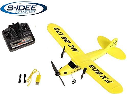 s-idee® 21002 Flugzeug Piper J3 FX803 Flieger Trainer rc ferngesteuert mit 2.4 Ghz Technik mit Lipo Akku
