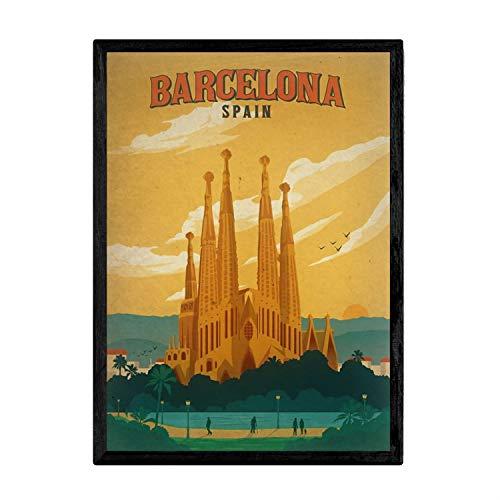 Nacnic Poster Vintage de Barcelona. Láminas para Decorar Interiores con imágenes Vintage...