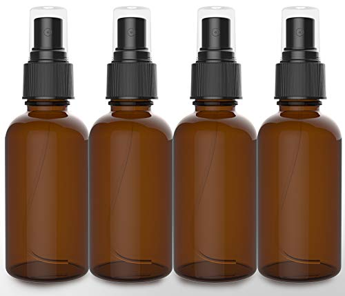 4 Pack Amber Spray Bottles 2oz - [THE PERFECT SPRAY] - Brown Empty Glass Bottle For Cleaning - Best Refillable MIST SPRAY Pack Perfume Atomizer [2oz]