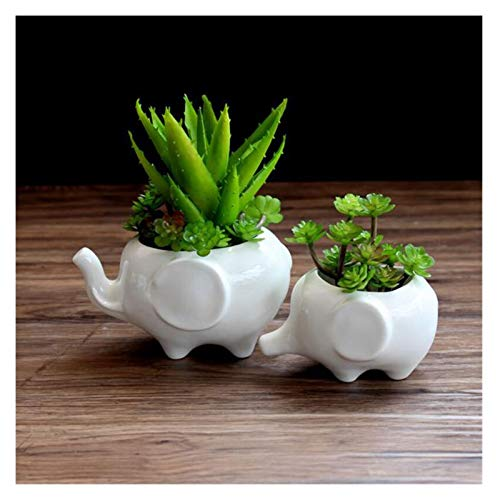 Flower pot Flower pot planters White elephant ceramic pote de vidro for sale garden pots flower vasi macetas pot fleur bonsai pots (Color : Elephant10x7x6cm)