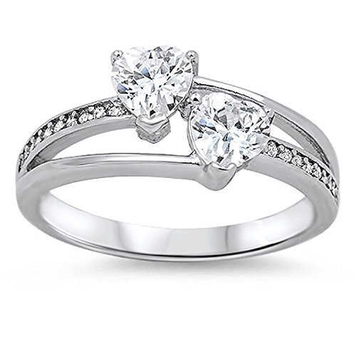 Blue Apple Co. 925 Sterling Silver Promise Ring Double Heart Shape Round Clear CZ Accent Halo Wedding Ring