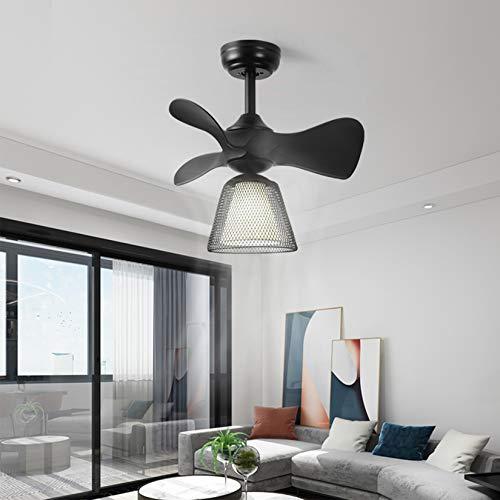 Ventilador de techo giratorio con mando a distancia, lámpara de araña con ventilador, negro, 54 cm, ventilador de techo con lámpara para dormitorio, oficina, salón, iluminación interior