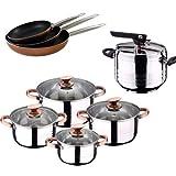 """San Ignacio Olla A PRESIÃ""""N 5 L Duna + BATERIA Cocina 8 Piezas SIP + Set 3 SARTENES Professional Chef Copper, Cromado, 5 litros"""