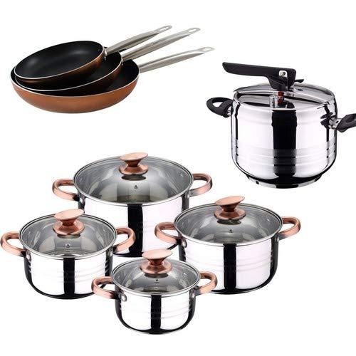San Ignacio Olla A PRESIÓN 5 L Duna + BATERIA Cocina 8 Piezas SIP + Set 3 SARTENES Professional Chef Copper, Cromado, 5 litros