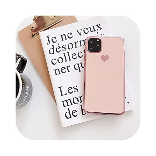 loveheart - Carcasa para iPhone 11 11 Pro Max XR XS X XS Max 7 8 6 6S Plus suave protector de color caramelo cubierta capa-rosa para iPhone 7plus