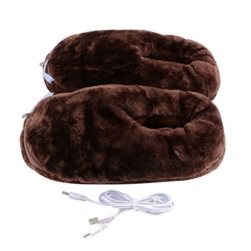 LICHENGTAI USB Beheizter Fußwärmer, 1 Paar Elektrische Heizung Hausschuhe USB Warme Plüschschuhe Pantoffeln, Fußwärmer für Füße Kälteentlastung Winter, für Männer und Frauen, Braun