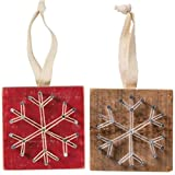 String Art Snowflake Wood Christmas Ornament Bundle, Primitive Farmhouse Cottage Holiday Decor