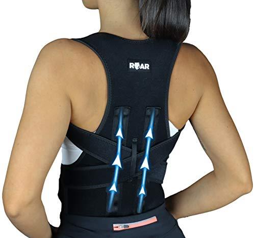 Roar Corrector de Postura, Corrector y Soporte para Columna Vertebral, Alivia Dolor en Cuello, Espalda y Hombros, Ajustable y Transpirable, Mejora la Postura y Proporciona Soporte para la Espalda (M)