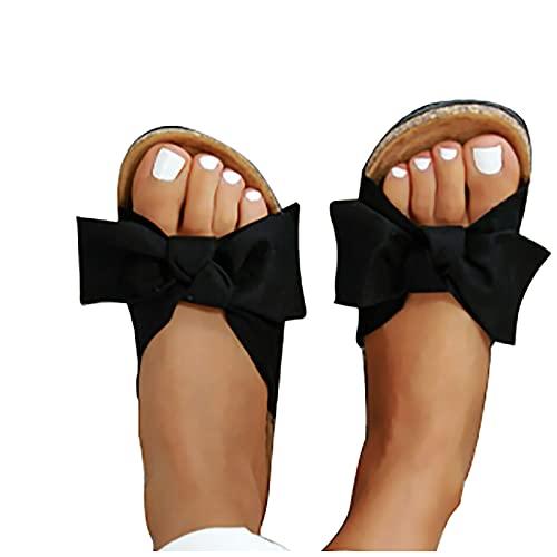 LLDG Sommer Sandalen Damen Flache Römersandalen mode Strandsandalen Bogen Wedge Peep Toe Flip Flops Lässige flats-sandals Elegante Pantoletten Freizeit Vintage Hausschuhe Slipper
