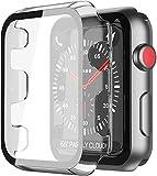 YoLin [2-Stück] Mit Panzerglas Ultradünne Displayschutz Kompatibel mit Apple Watch Series 3 Schutzhülle, PC All-Around Schutzhülle für iWatch 38mm (2 Transparent)