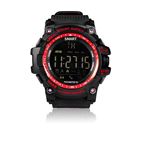 PWE-EX16 Relojes Deportivos Digitales Reloj Inteligente con Recordatorio Información Llamadas Bluetooth,Rojo