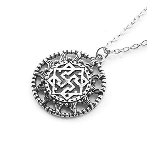 Collar con colgante de sol sobrenatural Vintage Color plata redondo talismán eslavo amuleto mujeres hombres collares joyería regalos
