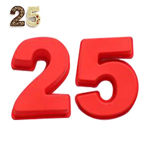 2 PCS Silicone Torta Stampo,Stampo da Forno in Silicone per Torte da 25 Numeri Fai da Te,Stampo in Silicone 3D per Torte di Compleanno e Anniversario di Matrimonio 10 Pollici