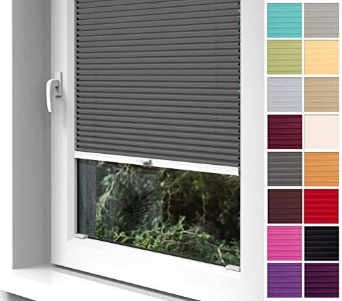 Home-Vision® Premium Plissee zum Anschrauben in der Glasleiste Innenrahmen (Graphit, B75cm x H200cm) Blickdicht Plissee Jalousie mit Halterungen zum Bohren, Sonnenschutzrollo Rollo