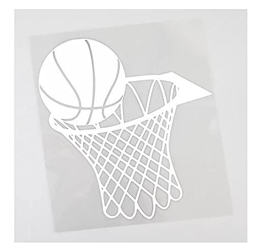 MDGCYDR Pegatinas Coche Personalizadas 14,8 Cm X 15,9 Cm Divertido Baloncesto Y Calcomanía De Aro De Red Calcomanía De Vinilo para Coche Negro/Plateado