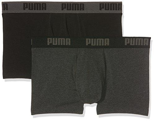 PUMA, Basic Trunk 2P, boxershort voor heren, donkergrijs melange/zwart, maat XL