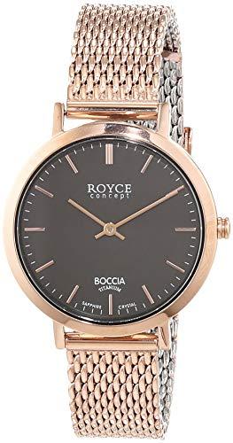 Boccia Damen Analog Quarz Uhr mit Edelstahl beschichtet Armband 3246-08