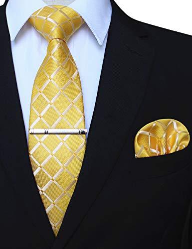 JEMYGINS Gelb seide Krawatte und Einstecktuch mit krawattenklammer Set für Herren Seidenkrawatten Hochzeit Schlips (9)