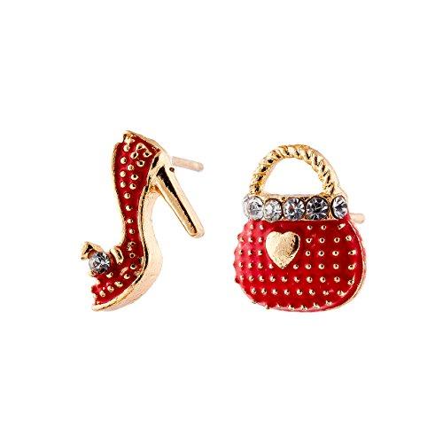 Selia High Heel Ohrring studs Ohrstecker Tasche Schuhe minimalistisch zarte Optik (Rot)