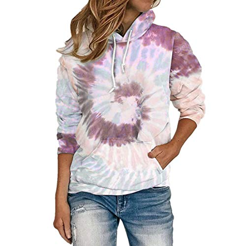 Pullover Damen Elegant Langarm Hoodie Buntes Batik Kordelzug Taschen All-Match Bequem Kurzes Sweatshirt Herbst Winter Neu Sport Business Casual T Shirt Top M