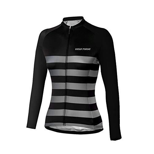 Uglyfrog Damen Radsport Winter Fleece Warm Bleiben Trikots Fahrrad-Jersey - Lang-Ärmel-Slim-Fit-Fahrrad/MTB-Shirt
