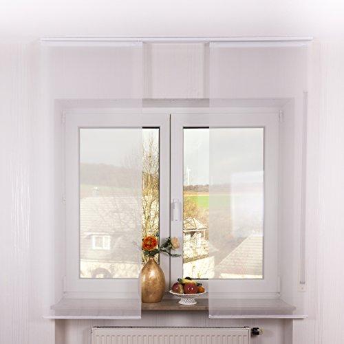 2er Set Schiebegardine Flächenvorhang inkl. Zubehör (in versch. Längen) Feline II, Farbe:weiß, Vorhanglänge:160 cm, Farbe Paneelwagen:Weiß