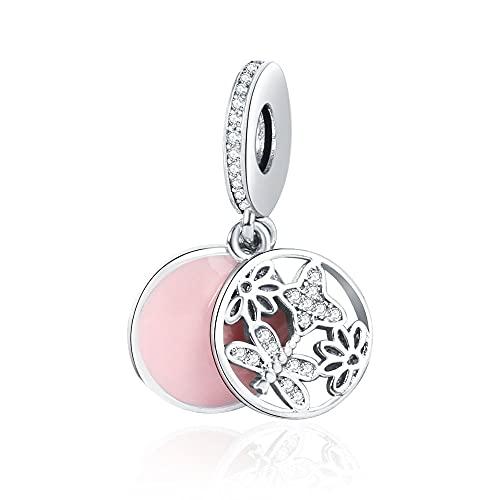 LIIHVYI Pandora Charms para Mujeres Cuentas Plata De Ley 925 Colgante De Primavera De Esmalte Colgante De Flor De Mariposa Compatible con Pulseras Europeos Collars