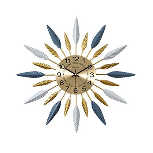 qwertyuio Relojes De Pared para Sala De Estar Reloj De Pared Grande con Diseño De Rayos De Sol, Diseño Retro De Plumas Geométricas, Reloj Dorado Mudo, Reloj De Pared Moderno De Metal Policro