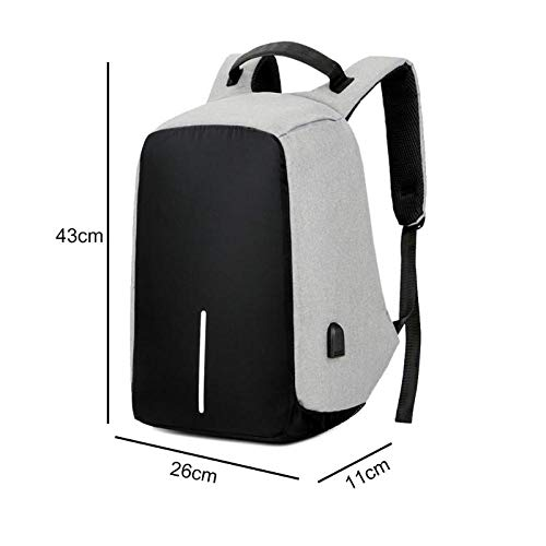 Sac à Dos Fashion Business Leisure Rucksack Bag with USB Charging Socket Large Capacity Outdoor Travel Camera Laptop Backpacks Grey