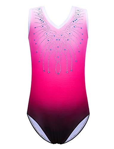 Gymnastics Leotard for Girls Shiny Diamond Ballet Dance One Piece B180_PinkRose_12A