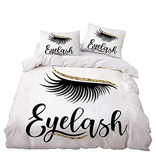 Juego de funda de edredón con funda de almohada de lujo, suave, hipoalergénico, microfibra, efecto 3D, juego de cama (140 x 200 cm, A6)
