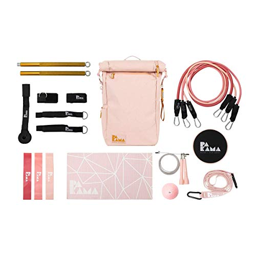 PAKAMA Sports Bag (Paris Pink) - Fitnessstudio in einem Rucksack (inkl. 10 Fitness-Tools & App)