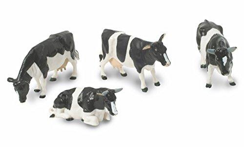 TOMY- Vaches Noires et Blanches-Échelle 1/32-Lot de 4, 152162