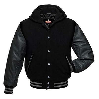 Women Varsity Jacket Genuine Leather Sleeve and Wool Blend Letterman Ladies Girls College Varsity Jackets (All Black Hoodie, Small) by
