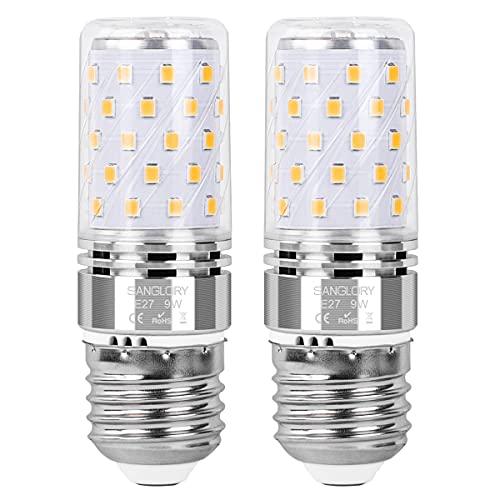 SanGlory E27 LED Lampadine 9W Equivalente a Alogeno 80W, 950LM, Bianco Caldo 3000K, E27 Mais lampade Non Dimmerabile Lampadine a Candela, Pacco da 2 (9W E27 3000K)