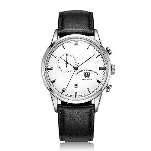 DuFa Unisex Chronograph Quarz Uhr mit Leder Armband DF-9007-02