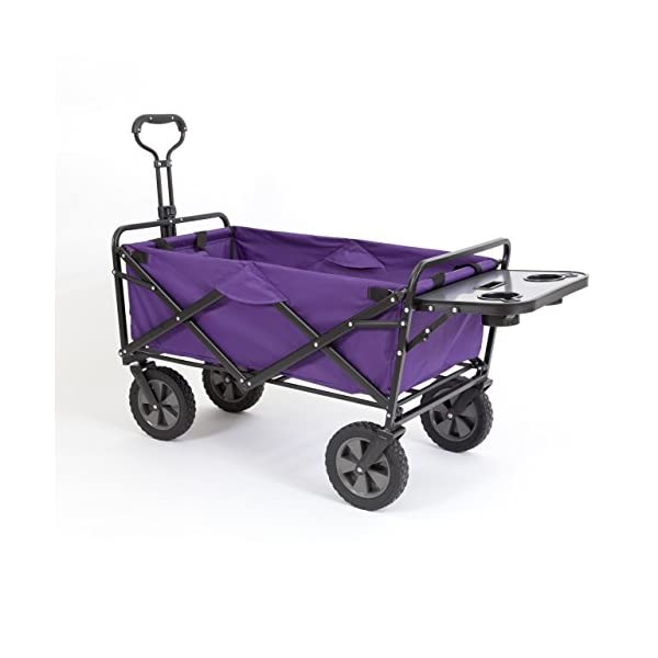 Mac Sports Collapsible Folding Outdoor Utility Wagon (Wagon with Side Table, Purple)