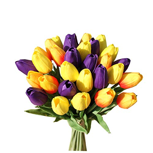 Mandy's 28pcs Artificial Tulip Flowers for Party Home Wedding Decoration (Purple Orange and Yellow)