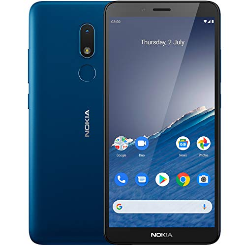 Nokia C3 Android 10 Smartphone with 2GB RAM 16GB Storage, All-Day Battery and Fingerprint Sensor – Nordic Blue