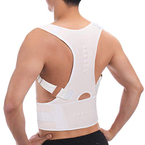 Back Brace Posture Corrector - Best Fully Adjustable Support Brace - Improves Posture and Provides Support - for Lower and Upper Back Pain - Men and Women,White,X-Large