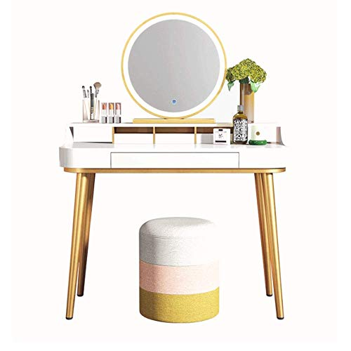 Renovation House Modern Make up Table Metal And Wood Vanity Table Set For Bedroom 2 tier Dressing Table With Drawers Mirror Cushioned Stool 5 Colors For Girl Dressing Table Set (Color : White Size :
