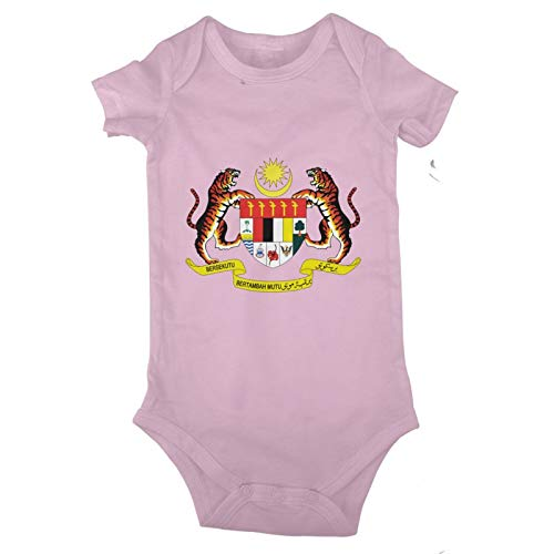SEAEAGLE Coat of arms of Malaysia Baby Jersey Bodysuit Romper Jumpsuit Short Sleeve T-Shirt Pink