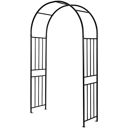 Giantex 7.2Ft Garden Arch, Outdoor Steel Arbor w/Stakes, Decorative Lightweight Arch for Various Climbing Plants, Wedding Metal Arch for Garden, Wedding, Lawn, Party Decoration (Black)