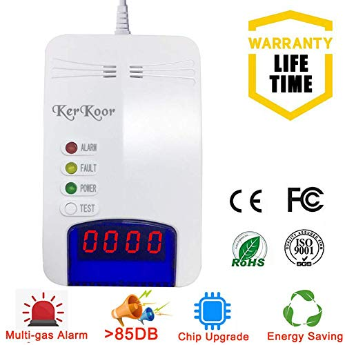 Natural Gas Leak Alarm Detector - for Radon Home Gas Tester Propane Smart Test kit Electronic Sniffer Pen Plug-in Monitor for Gas Sensor Methane Travel Portable fire Combustible Safe with The Backup