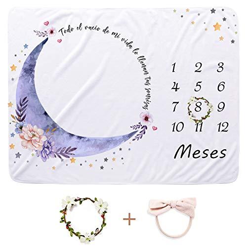 CBOO Manta Mensual de Hito Suave Manta Fotografia Unisex Manta Meses Personalizada Regalos originales para Bebés Recien Nacidos (Luna: 130cm * 100cm)